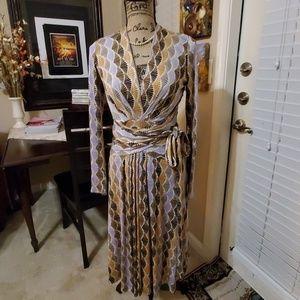 ISSA London Viscose Stretch Wrap Dress Sz 6